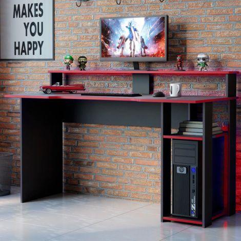 Gaming bureau Markies 136cm - zwart/rood