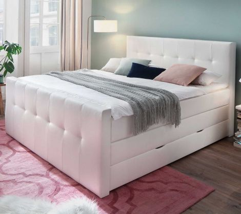 Lit boxspring Baras 180x200 avec boîte de lit - blanc (H2)