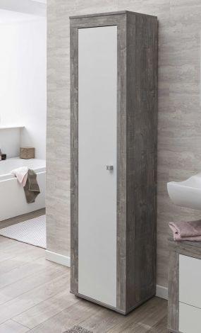 Colonne salle de bains Rutger 1 porte - blanc/béton