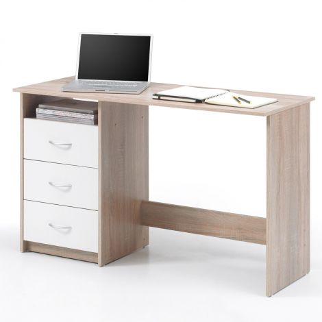 Bureau Adriano 123cm 3 tiroirs - chêne/blanc