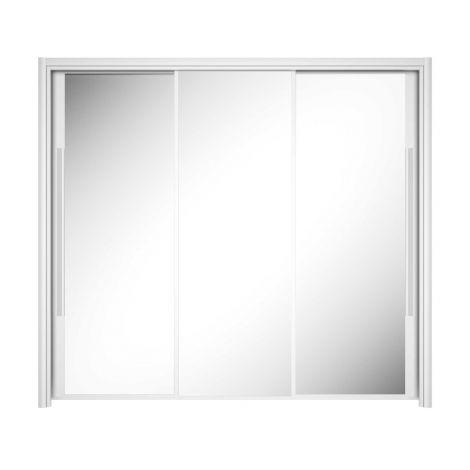 Armoire Cody 231cm avec 3 portes coulissantes & miroir - blanc