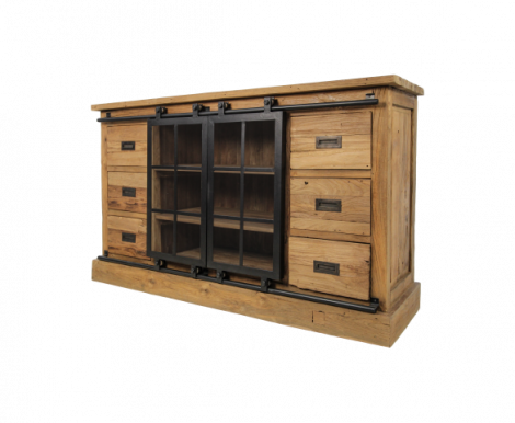 Dressoir Blackburn - glasdeuren - reclaimed teak / ijzer