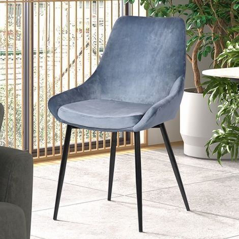 Lot de 2 chaises Mirano métal/velours - bleu