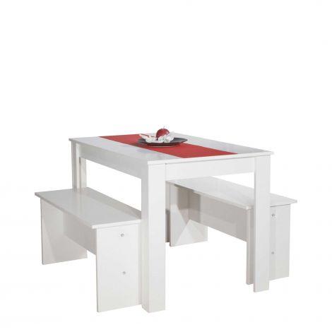 Eettafel Nice met banken - wit