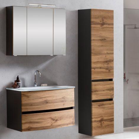 Ensemble salle de bains Kornel 5 à 3 pièces avec vasque blanche - gris graphite/chêne
