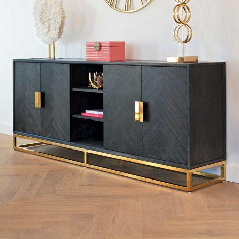 Dressoir Bony 225cm 4 deuren - zwart/glimmend goud