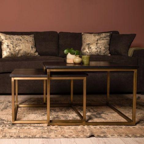 Set van 2 salontafels Finnley vierkant – zwart/antiek goud