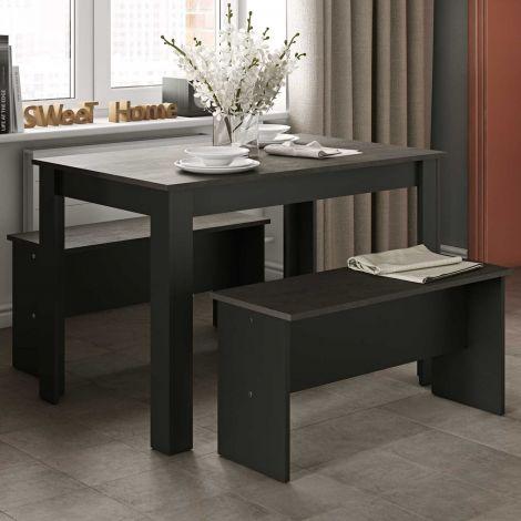 Eettafel Nice met banken - zwart/beton