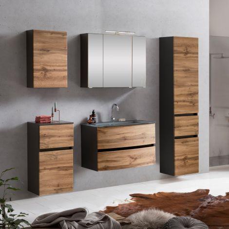 Ensemble de salle de bains Kornel 14 à 5 pièces avec vasque grise - gris graphite/chêne