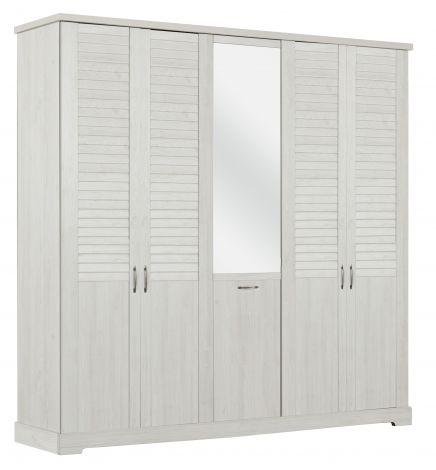 Armoire Wanda 230 cm 5 portes  & miroir - châtaignier blanchi