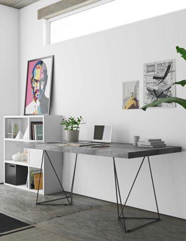 Table Multis 160cm - béton/noir