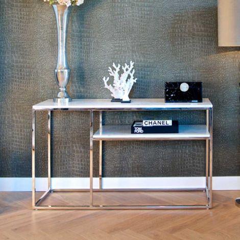 Sidetable Levanto 140cm met legplank - zilver/wit