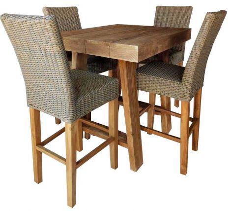 Table de bar Pablo 100x80cm + 4 chaises de bar