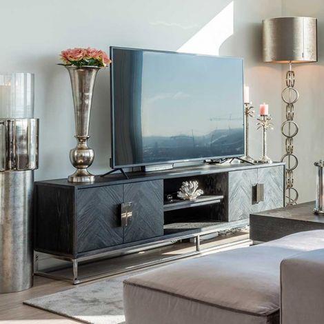 Tv-meubel Bony 185cm 4 deuren - zwart/zilver