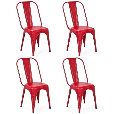 Set van 4 stoelen Aix - rood