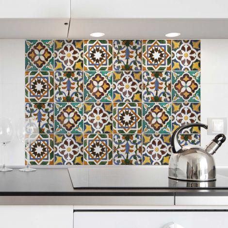 Muursticker Tegels achterwand keuken - groen