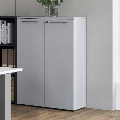Classeur bas Osmond 80cm à 2 portes - gris clair