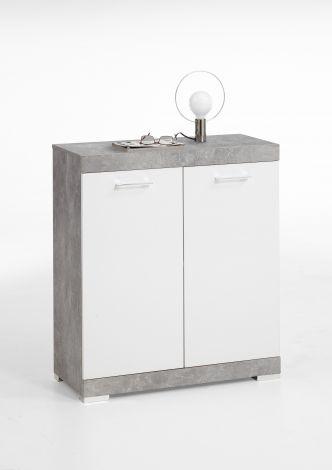 Commode Cristal 2 deuren 80x90x35 - beton/hoogglans wit