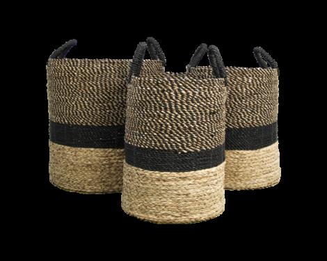 Mandenset Malibu - zwart / naturel - waterhyacint - set van 3