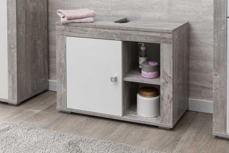 Wastafelonderkast Rutger 1 deur - wit/beton