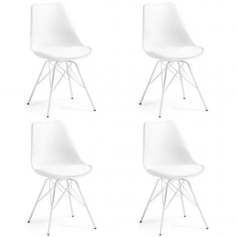 Set van 4 stoelen Ralf metaal/kunststof - wit