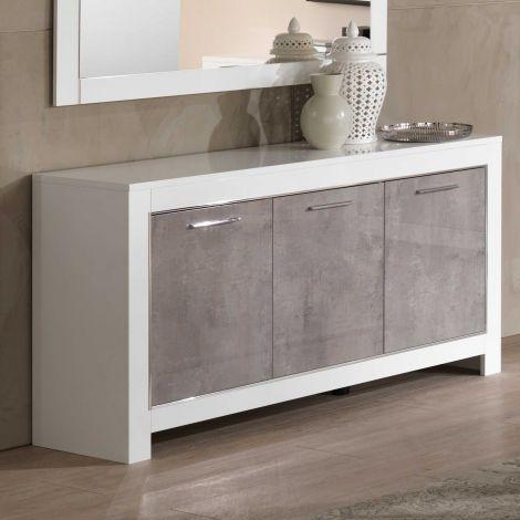 Dressoir Modena 3 deuren - wit/beton