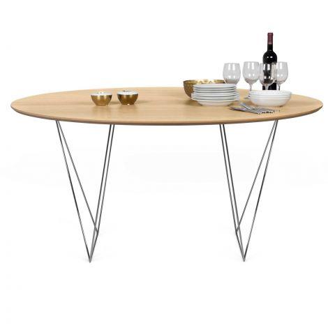 Table à manger Row Ø150 - chêne/chrome