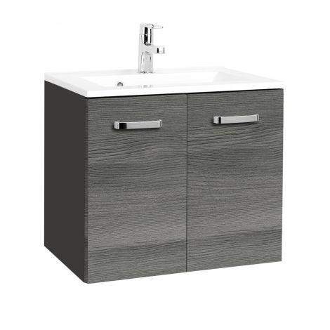 Meuble vasque Bobbi 70cm 2 portes - graphite/chêne gris