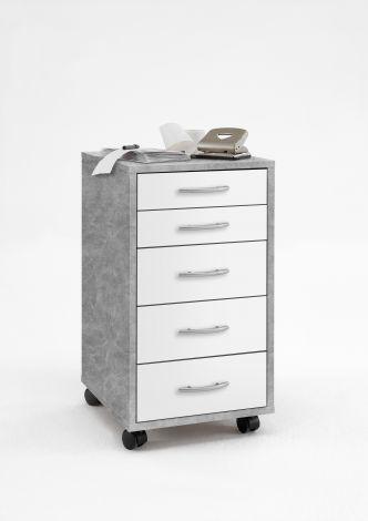 Caisson à tiroirs Ward - béton/blanc