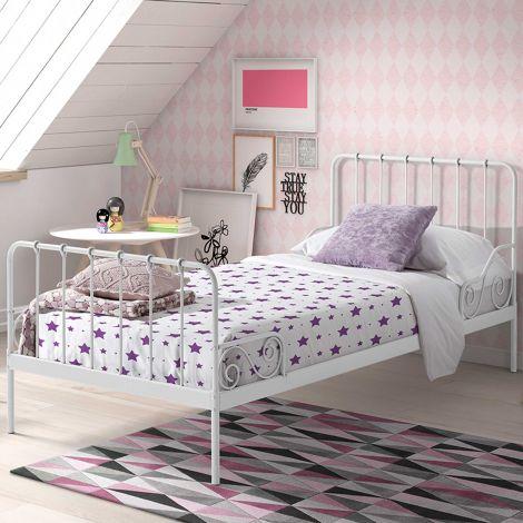 Metalen Bed Alice 90x200 - wit