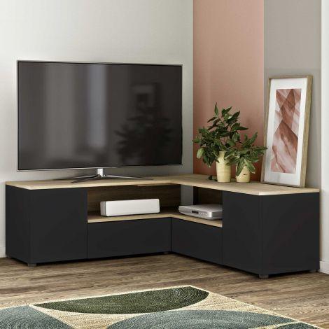 Tv-meubel Cleo 130cm - zwart/eik