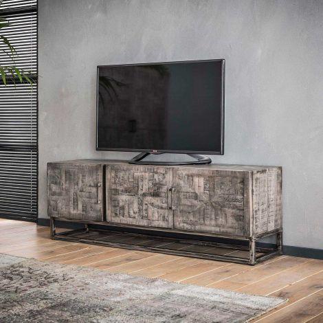 Meuble TV Emma 150cm - Massif mango antique gris