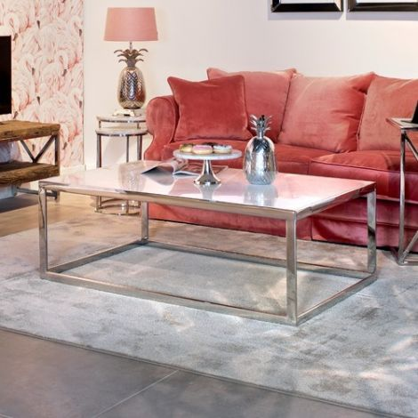 Salontafel Levanto 130x80cm - zilver/wit
