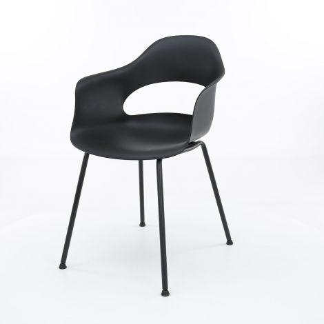 Chaise en polypropylène pietement metal poudrage electrostatique - Lot de 4 - Noir