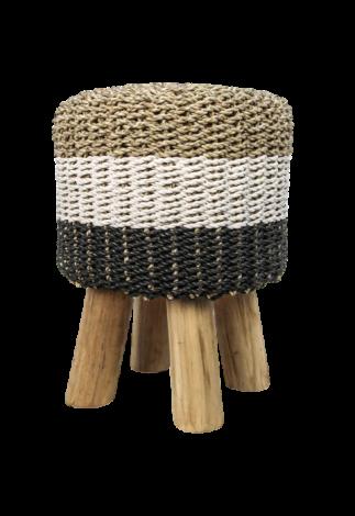 Kruk Malibu ø33 cm - raffia/zeegras - naturel/wit/zwart