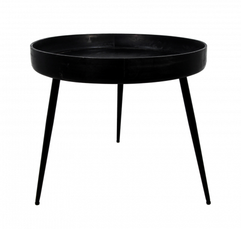 Bijzettafel Ventura - ø60 cm - zwart - mangohout / ijzer