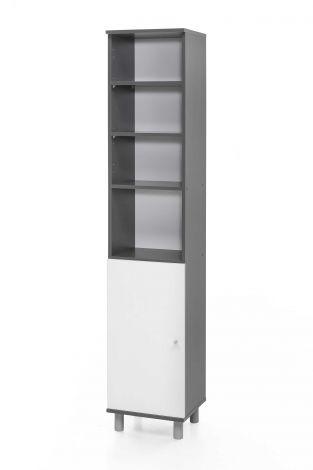 Colonne de salle de bains Benja 1 porte - blanc/gris graphite
