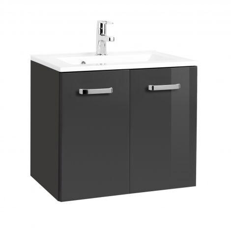 Meuble vasque Bobbi 60cm 2 portes - graphite/gris brillant