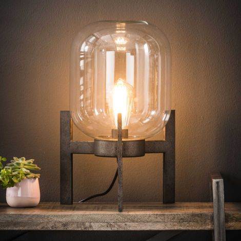 Tafellamp glas support - Oud zilver