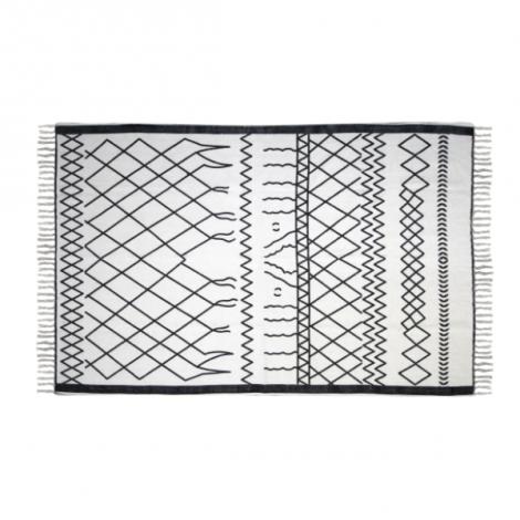 Tapis Boha 120x70 coton - noir/blanc