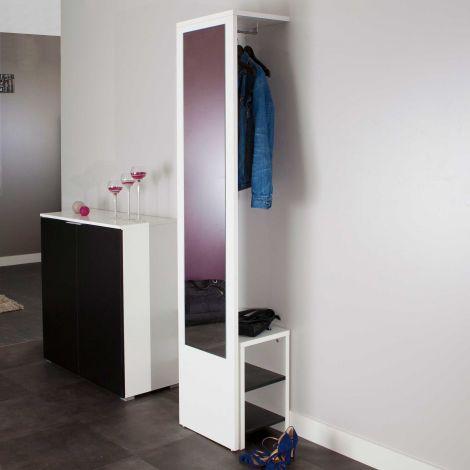 Halkast Vestibulo met spiegel - wit/zwart