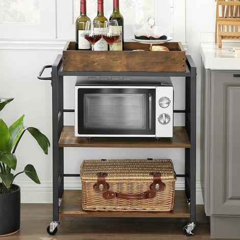 Keukentrolley Duncan met afneembaar dienblad - rustiek bruin/zwart