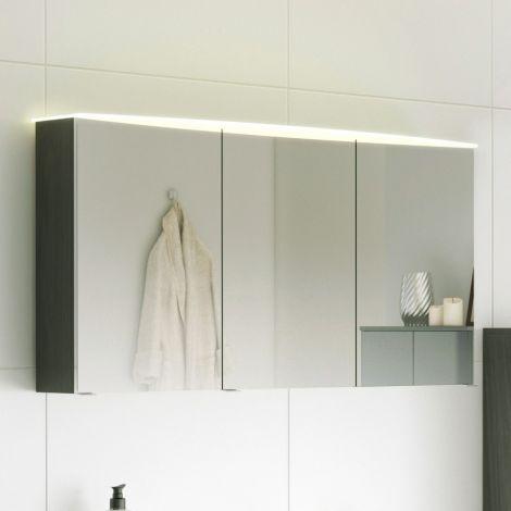 Spiegelkast Florent gebogen 120cm met 3 deuren & led lichtbalk - grafiet