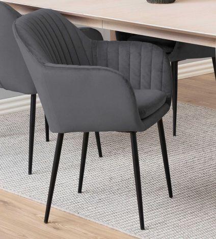 Chaise avec accoudoirs Hermeline - gris foncé/noir