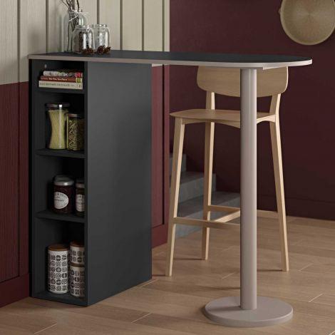 Table de bar Amel 115x50 avec rangement - noir/gris