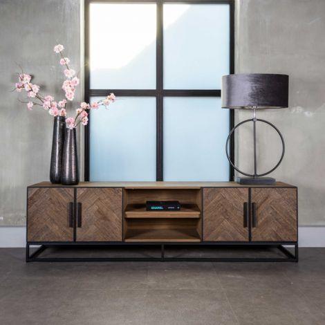 Tv-meubel Herringbone 220cm 4 deuren - eik/zwart