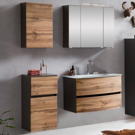 Ensemble salle de bains Kornel 7 à 4 pièces avec vasque blanche - gris graphite/chêne