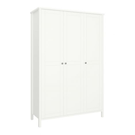 Kledingkast Tarik 129cm landelijk met 3 deuren - wit