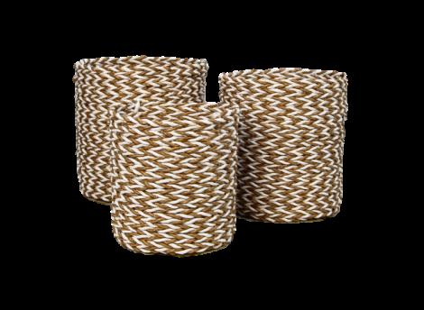 Mandenset - raffia / zeegras - naturel / wit - set van 3