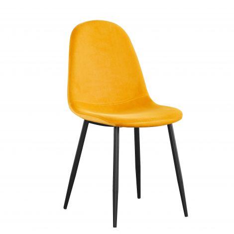 Set van 4 fluwelen stoelen Valeska - geel